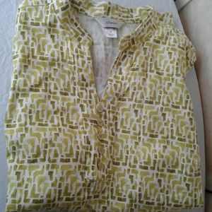 CJ Banks NWOT Linen Blend Tank Top Lime White 2X